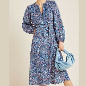 NWT Anthropologie Belted Midi Blue Floral Dress S